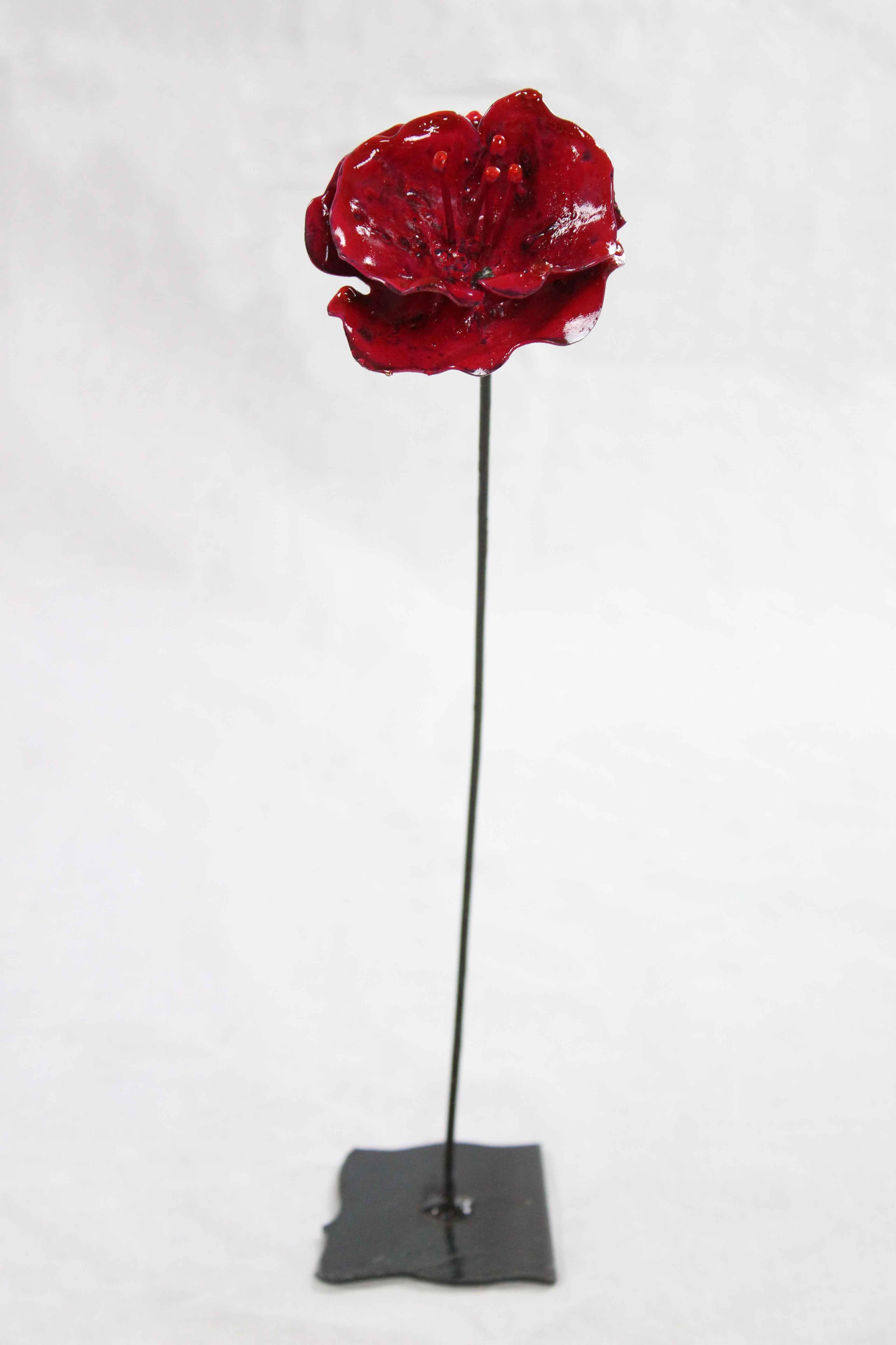 Coquelicot rouge en métal - Guy Fautsch Sculpture