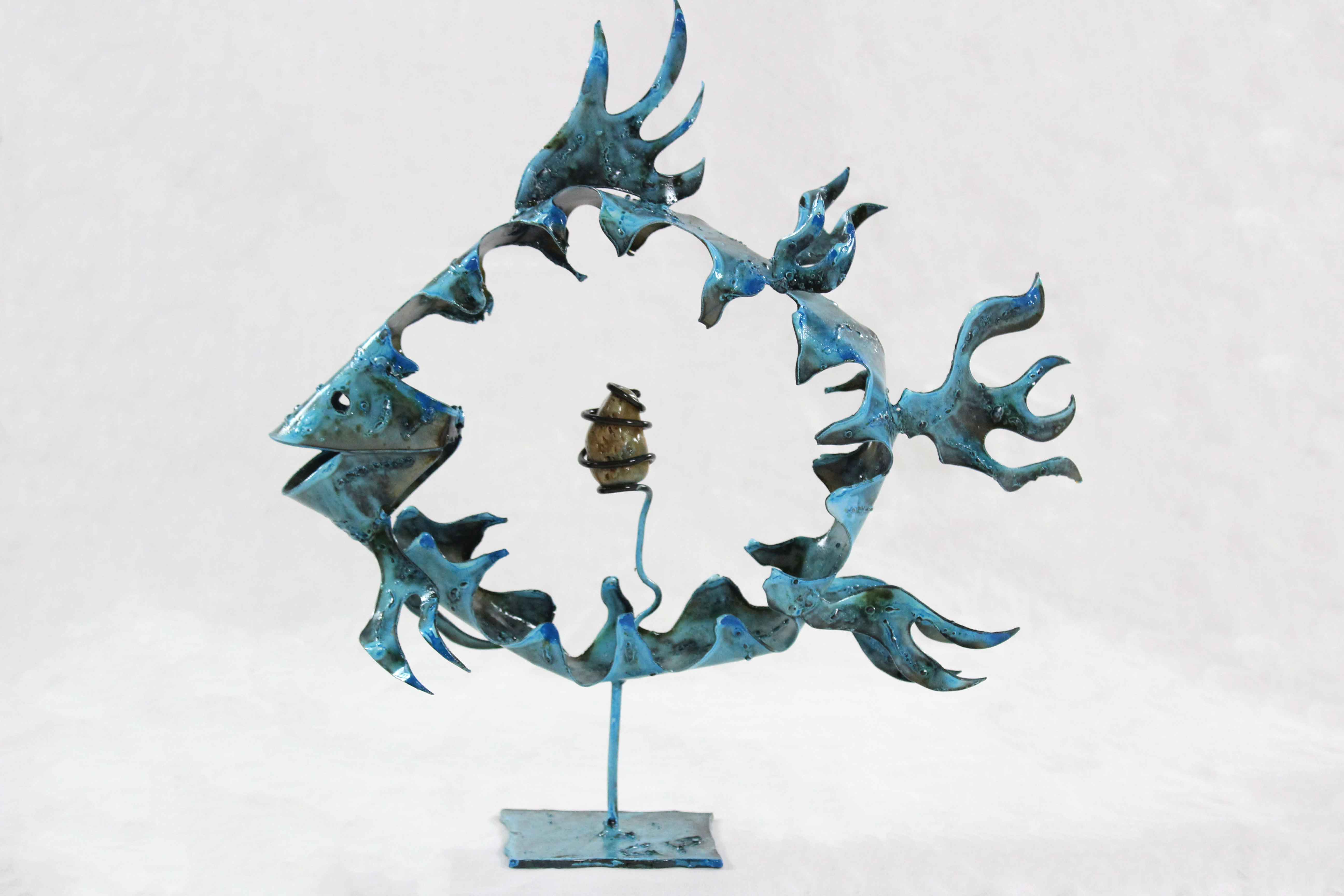Poisson bleu en métal - Guy Fautsch Sculpture