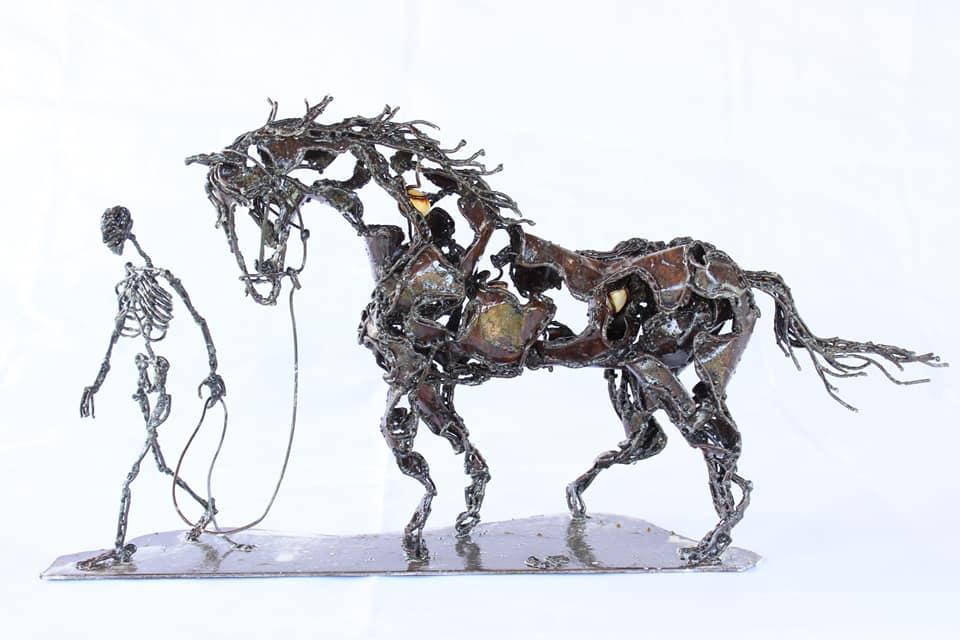 Cheval et son cavalier - Sculpture métallique