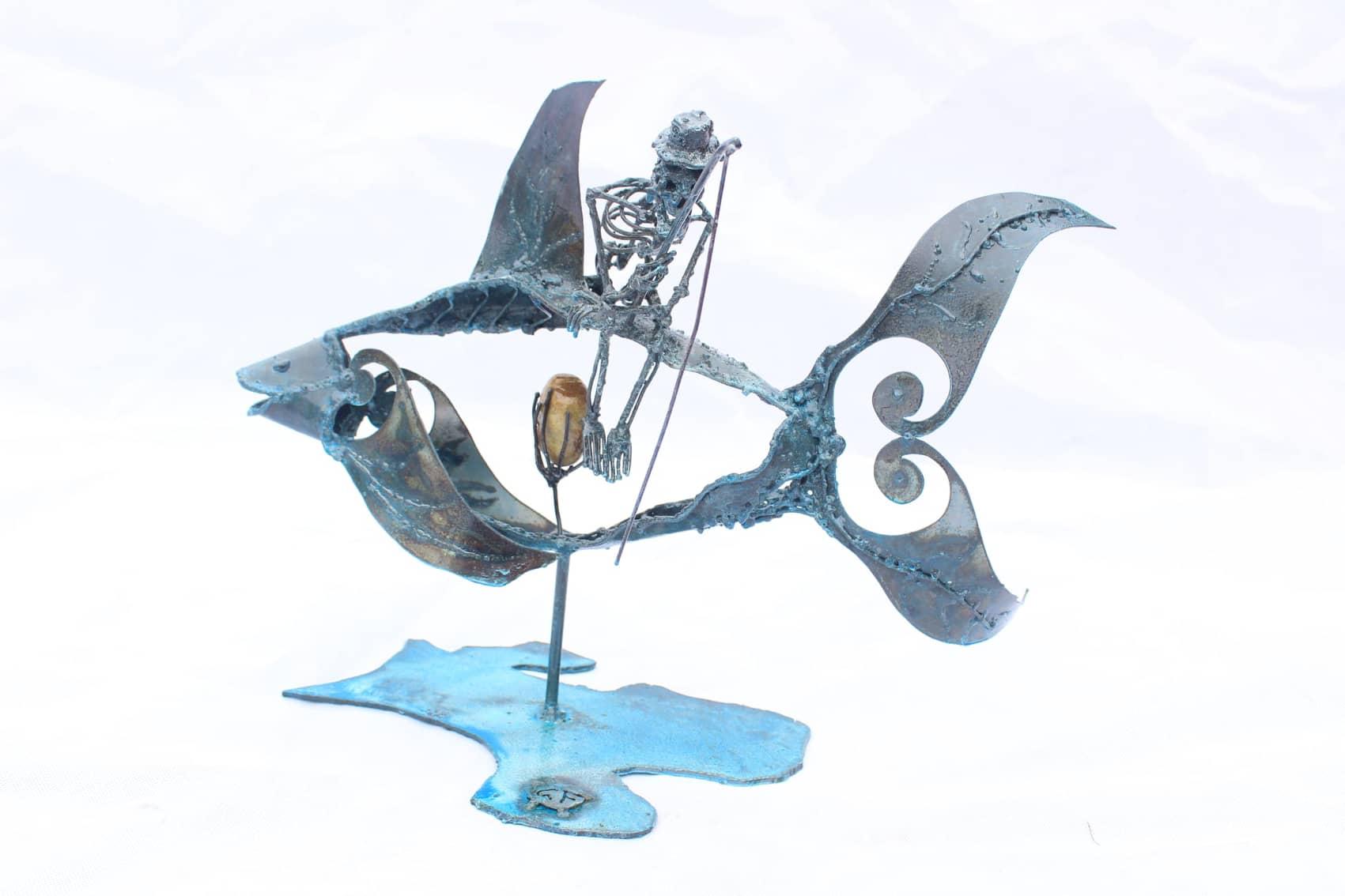 Poisson bleu - Sculpture en métal